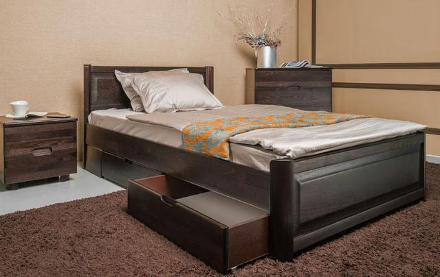 Кровать полуторная Марго с изножьем, с ящиками, изголовье филенка