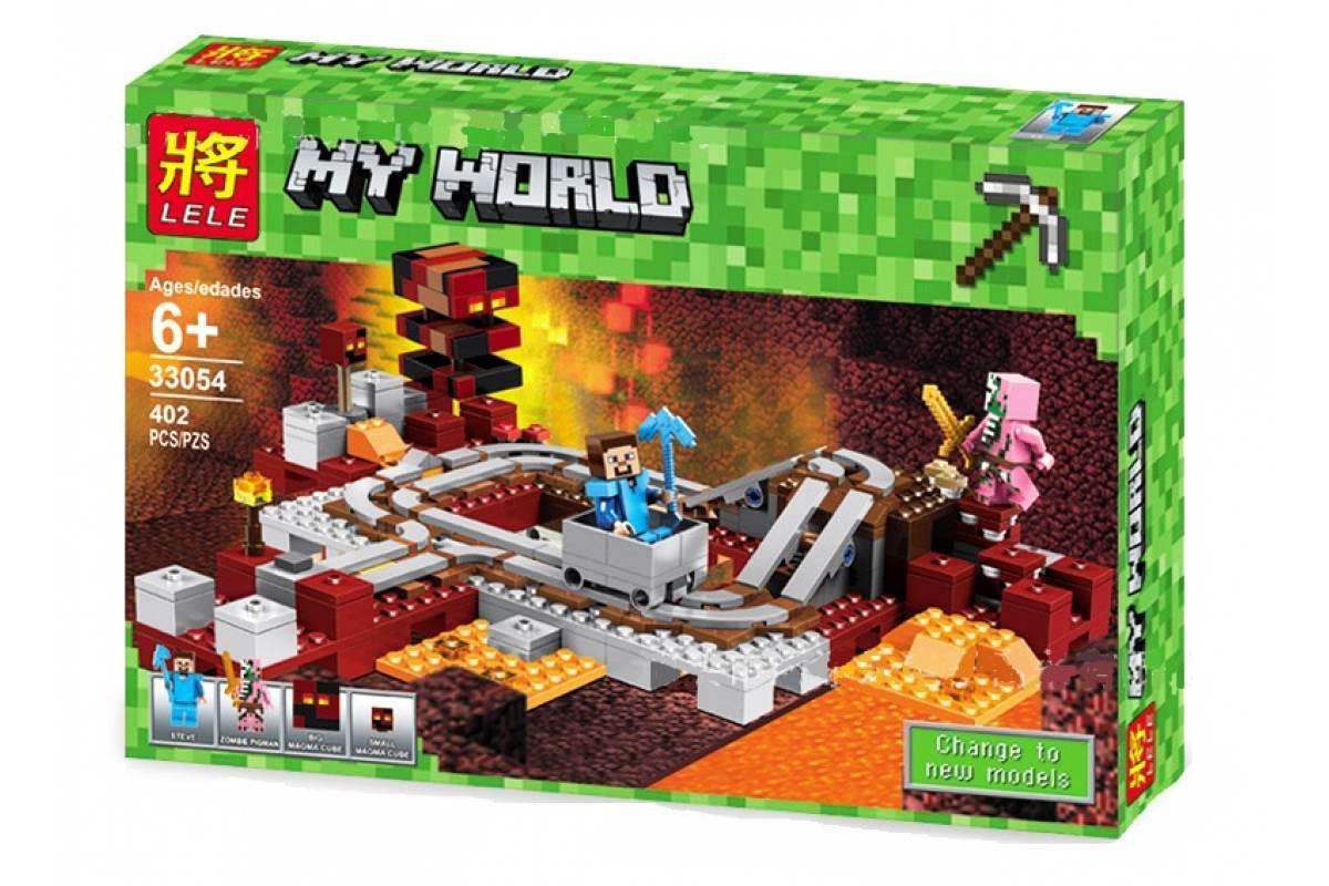 Конструктор Lele 33054 Minecraft Майнкрафт Подземная железная дорога 402 деталей