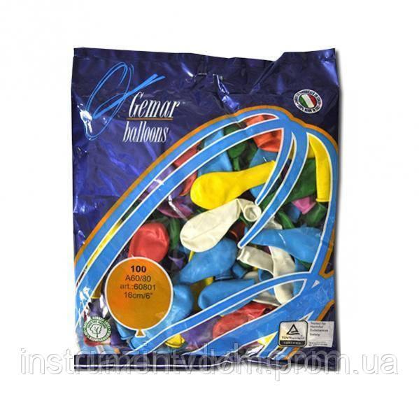 """Надувные шары ассорти Gemar Balloons A60/80 (16 см/6"""", арт. 60801, упаковка 100 шт)"""