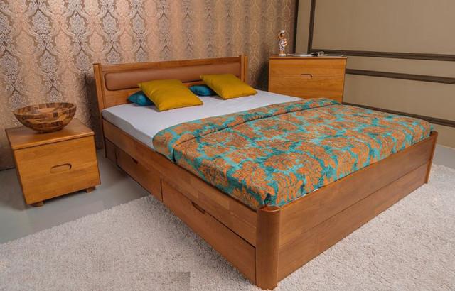 Кровать полуторная Марго с мягким изголовьем, с ящиками (фото 3)