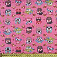 832377490 - ПВХ ткань оксфорд 600 D розовая в разноцветные совы, ш.150