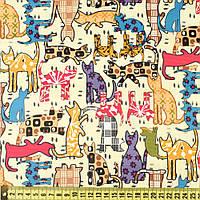 832417490 - ПВХ ткань оксфорд рип-стоп кремовая в разноцветные кошки, ш.150