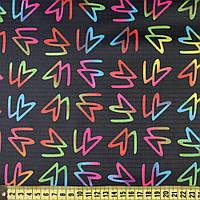 832437490 - ПВХ ткань оксфорд рип-стоп черная в разноцветный неоновый рисунок, ш.150
