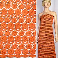 Кружево кружево кружевная ткань гипюр макраме в оранжевые маленькие цветочки 15мм ш.117 ткань