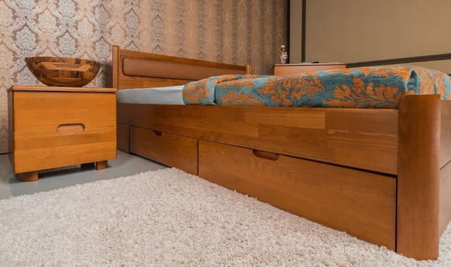 Кровать полуторная Марго с мягким изголовьем, с ящиками