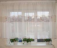 Тюль до подоконника  Вставка  цветочек, фото 1