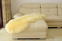 Овчина двойная бежевая на пол, длинношерстная овечья шкура, исландка, фото 1