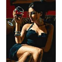 Картина раскраска по номерам на холсте 40*50см Babylon VP892 Девушка с бокалом Мерло