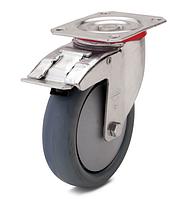 Колесо с поворотным кронштейном с площадкой и тормозом, диаметр 125 мм, нагрузка 110 кг