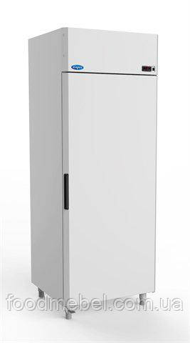 Холодильна шафа МХМ Капрі 0,7 МВ з верхнім агрегатом і педаллю відкриття дверей