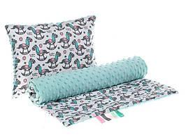 Комплект в детскую коляску BabySoon Лошадки одеяло 75х78 см подушка 30х40 см мятный цвет