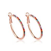 Женские серьги-кольца с разноцветными кристаллами в позолоте Любовный союз 576369