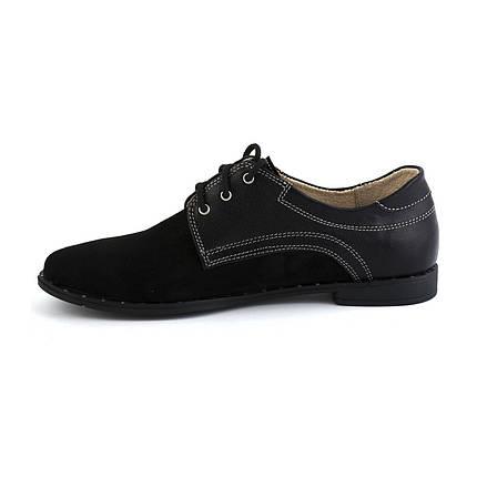 Черные туфли в комбинации кожи и замша оптом от производителя, фото 2