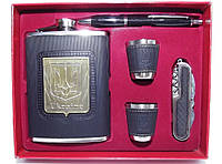 NF46 Подарочный набор с флягой, Фляга с украинской символикой, Набор: фляга + ручка + 2 стопки + нож/штопор