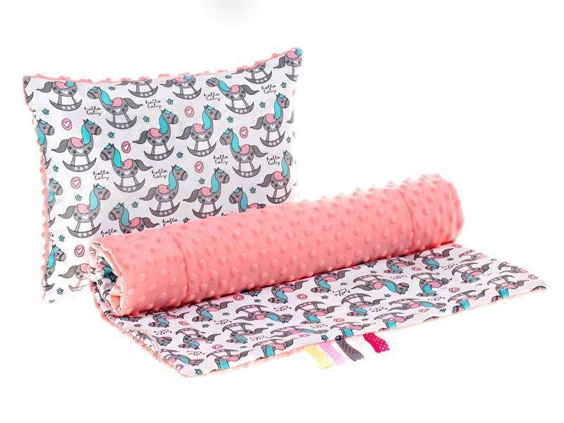 Комплект в детскую коляску BabySoon Лошадки одеяло 75х78 см подушка 30х40 см корал