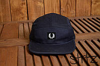 Стильная пятипанельная кепка бейсболка унисекс фред перри/Fred Perry 5-panel темно синяя