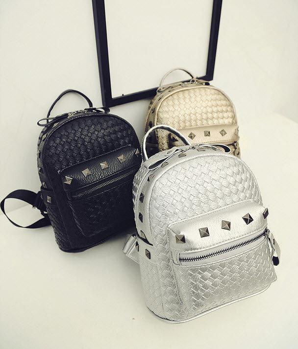 585ea9280635 Стильный городской плетеный рюкзак с заклепками для модных девушек - ИМ  Ирина- магазин женской и