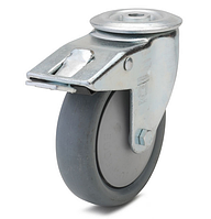 Колесо с поворотным кронштейном с отверстием и тормозом, диаметр 100 мм, нагрузка 90 кг