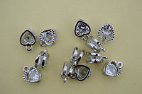 Подвеска сердце, белый камень, 12х7х5 мм, цвет Серебро (12 шт)