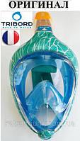 Повна маска для снорклінга Tribord Easybreath; розмір M-L; строката, темно-бірюзова (ОРИГІНАЛ)