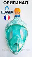 Повна маска для снорклінга Tribord Easybreath; розмір S-M; строката, світло-жовта (ОРИГІНАЛ)
