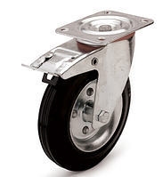 Колеса металлические с литой черной резиной, диаметр 160 мм, с поворотным кронштейном и фиксатором