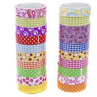 Скотч декоративный из ткани (набор 10 шт.) 1,5*200 см, микс 5773