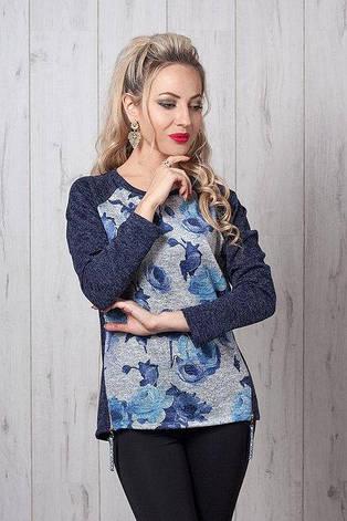 Модная трикотажная кофточка свитшот с принтом 42-48, фото 2
