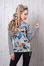 Модная трикотажная кофточка свитшот с принтом 42-48, фото 3