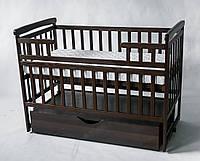Детская кровать трансформер лодочка орех с ящиком DeSon