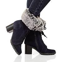 Ботинки на каблуке, из натуральной кожи, замша, с мехом на шнурках. Четыре цвета! Размеры 36-41 модель S2629