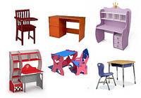 Парты, столики со стульчиками, наборы детской мебели