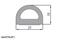 Универсальный уплотнитель Stomil Sanok с самоклеющейся лентой (D-профиль , 21х15 мм) 50 м, черный