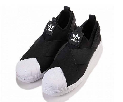 Кроссовки мужские Adidas SUPERSTAR слипон черные, фото 2
