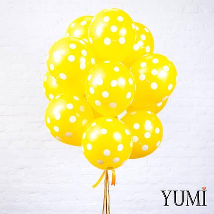 Яркая связка из 15 шаров с гелием в горох, фото 2