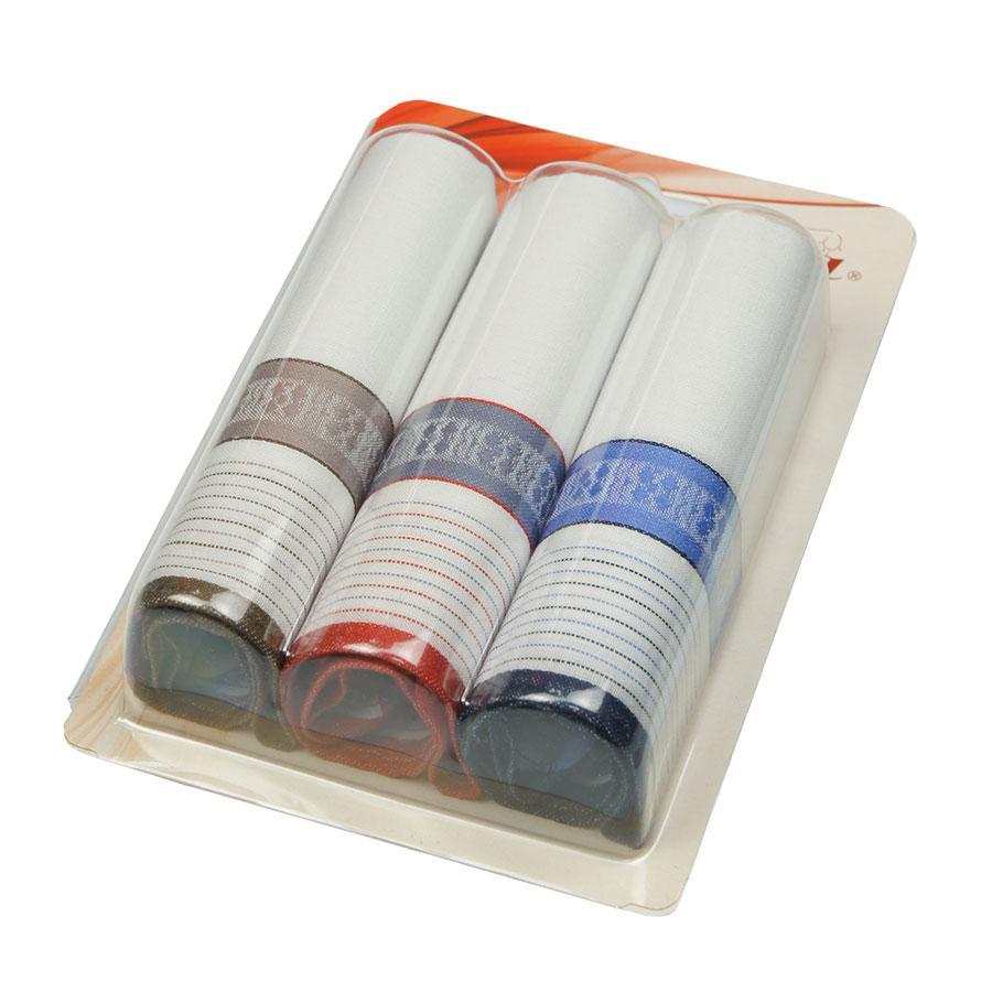 Платки носовые  3 шт. Ega (3 шт) белого цвета с цветной окантовкой