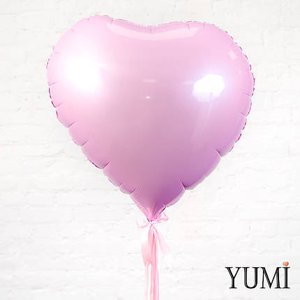 Большое розовое гелиевое сердце  с декором ленты, фото 2
