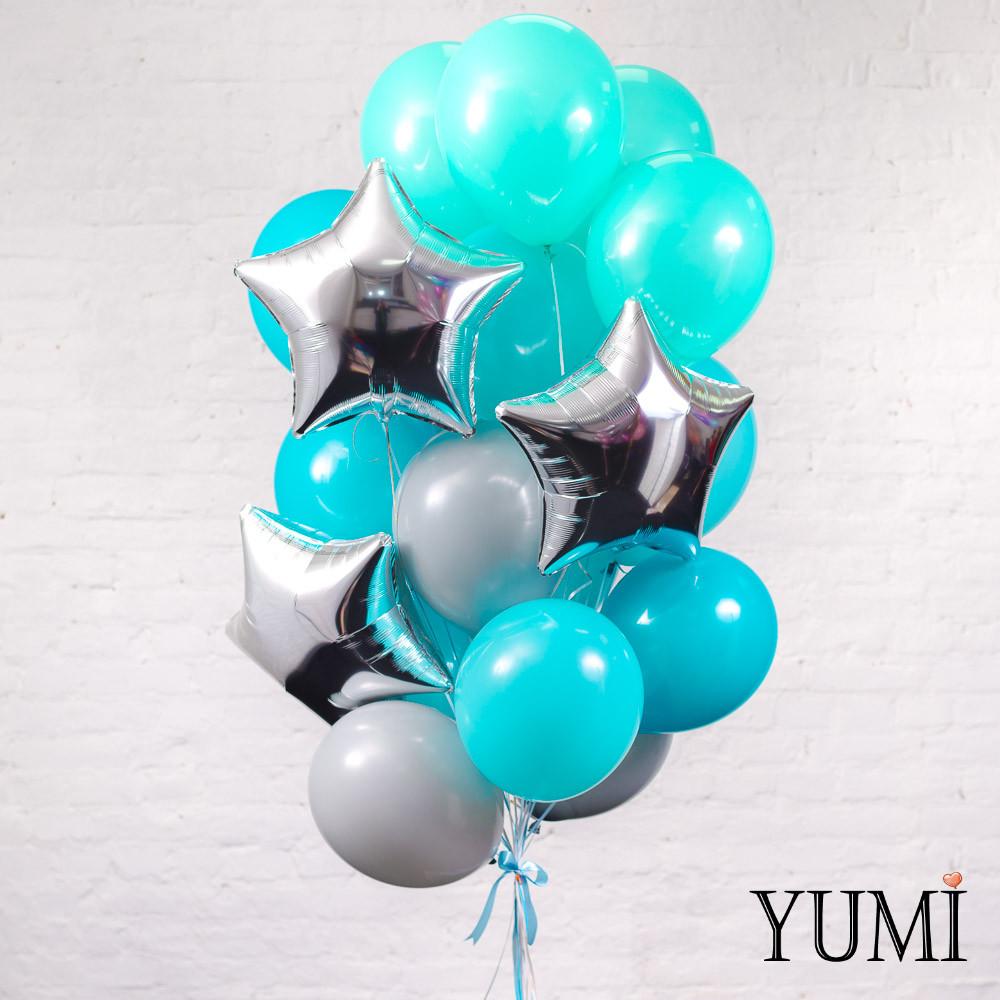 Стильная композиция из 20 гелиевых шариков на подарок