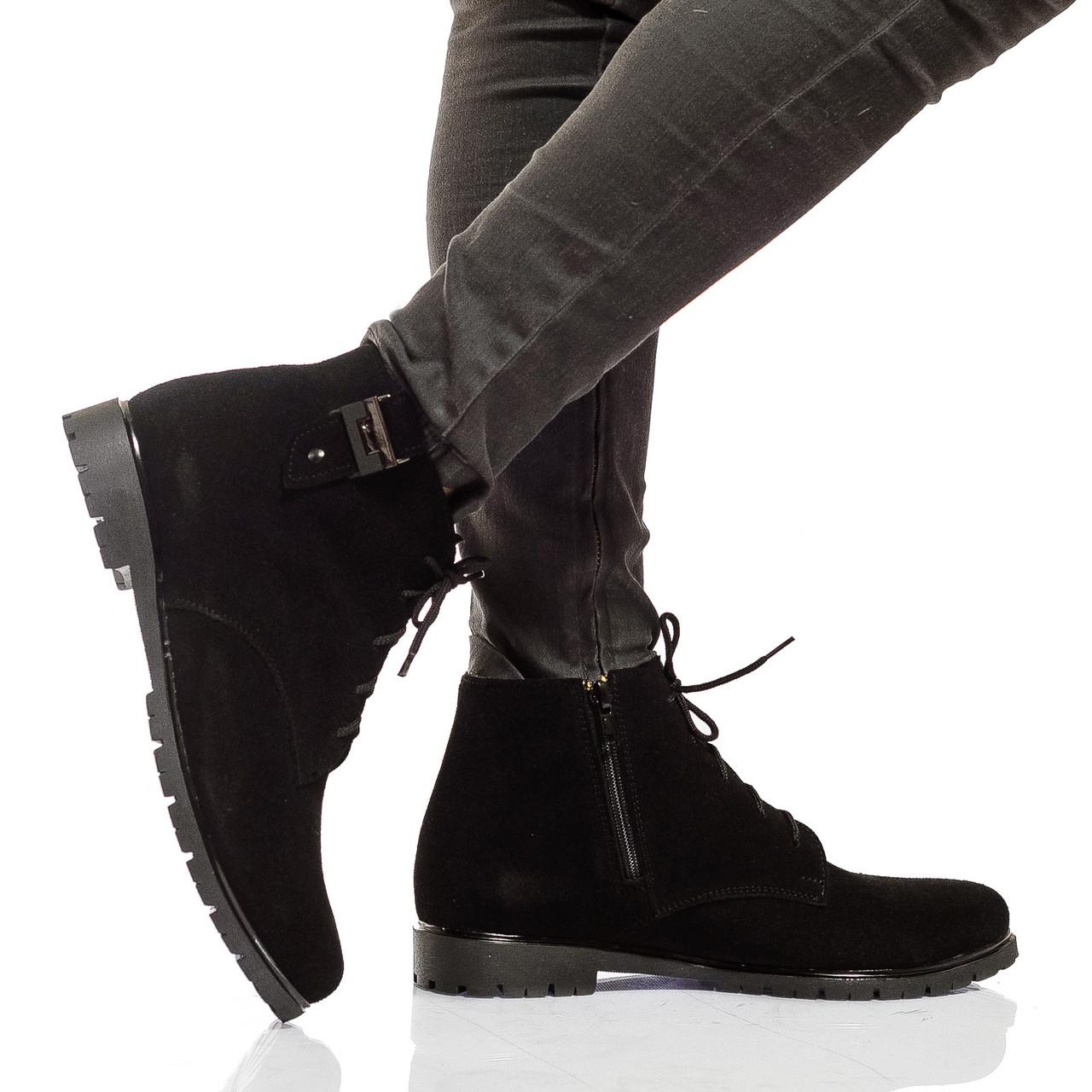 Ботинки на низком ходу, из натурального замша, на шнурках. Черный цвет! Размеры 36-41 модель S2113