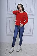 Вязаный свитер с длинным рукавом ( АК-012 )