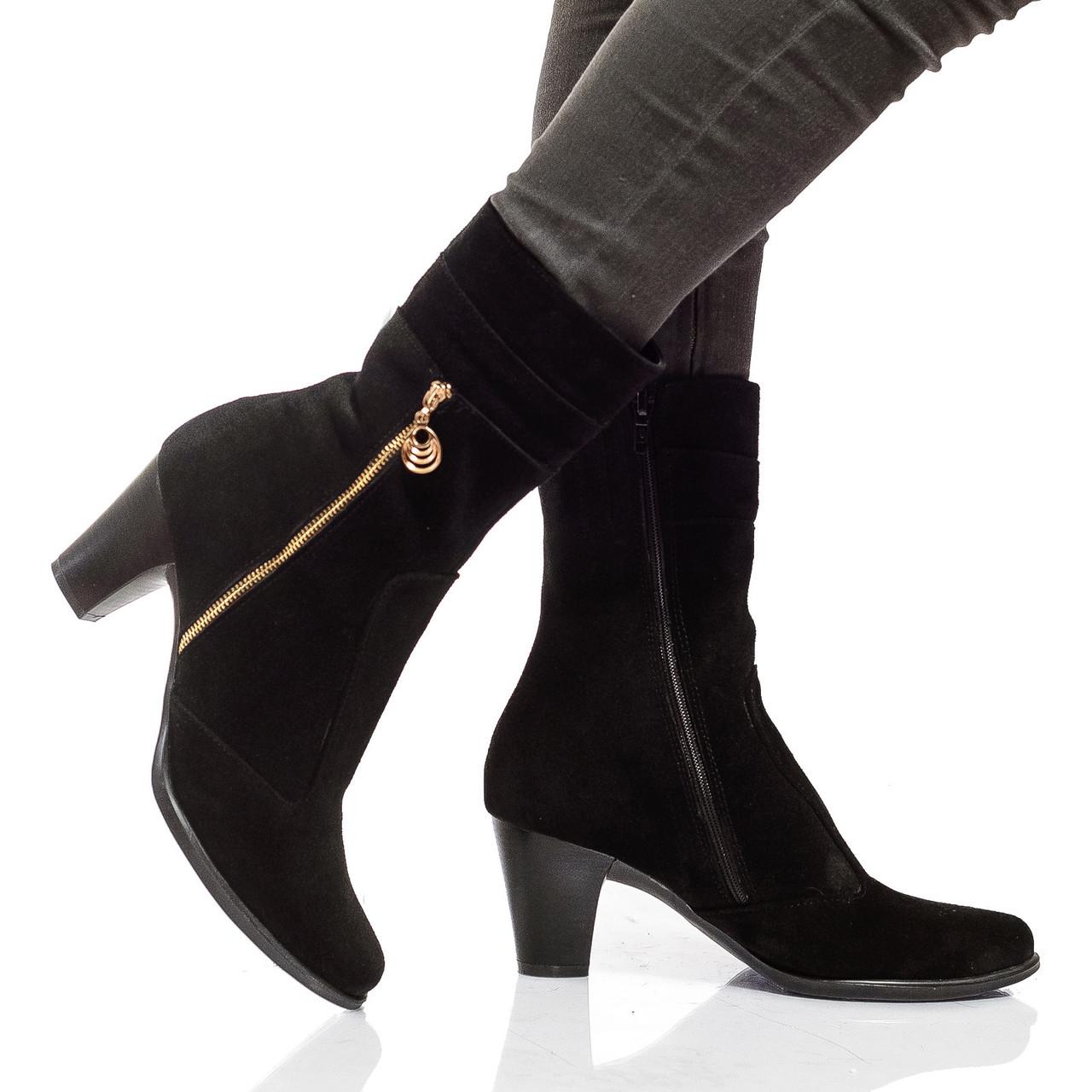 Ботинки на каблуке, из натуральной кожи, замша, на молнии. Два цвета! Размеры 36-41 модель S2612
