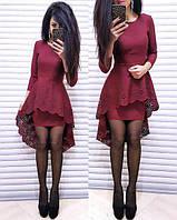 Платье женское стильное , вечернее в бардовом цвете (ММ-011)