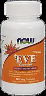 Мультивитамины для женщин без железа - Ева / EVE от NOW Foods, 120 капсул