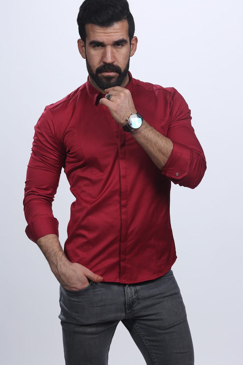0a31c6bed07 Мужская нарядная рубашка бордового цвета  продажа