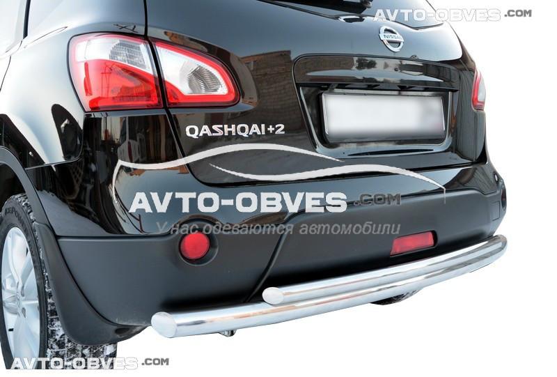 Защита заднего бампера для Nissan Qashqai двойная