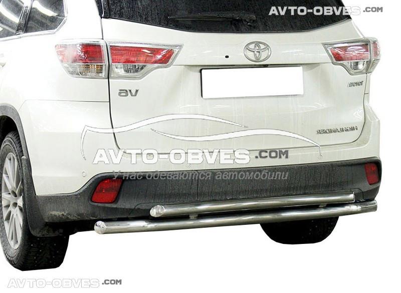 Защита заднего бампера для Toyota Highlander двойная (5-7 дней)