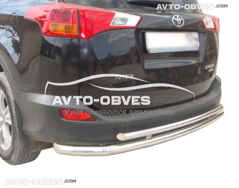Защита заднего бампера для Toyota Rav4 2013 - 2016 двойная (Тамсан)