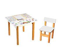 """*Стол и стул деревянный белый """"Абетка"""" арт. 128"""
