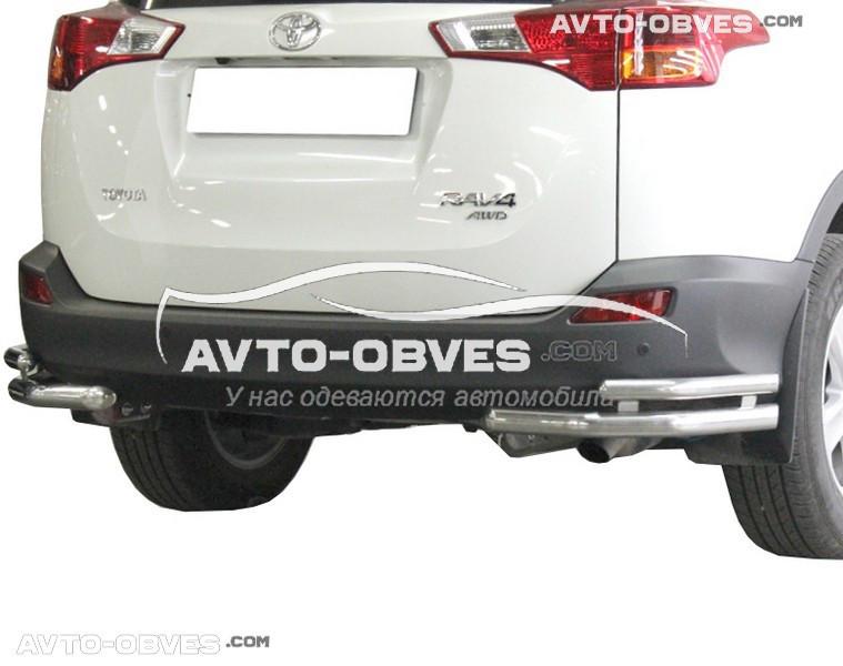 Защита заднего бампера Toyota Rav4, углы двойные (Tamsan)