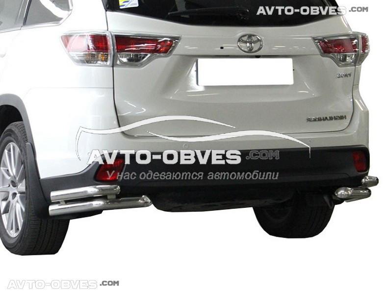 Защита заднего бампера Toyota Highlander 2014-2017, углы двойные (Tamsan)